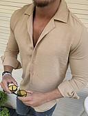 hesapli Erkek Gömlekleri-Erkek İnce - Gömlek Solid AB / ABD Beden Açık Mavi / Uzun Kollu