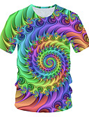 hesapli Erkek Tişörtleri ve Atletleri-Erkek Yuvarlak Yaka Tişört 3D Temel AB / ABD Beden Gökküşağı / Kısa Kollu