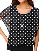 cheap Men's Tees & Tank Tops-Women's Daily Wear Blouse - Polka Dot White US4