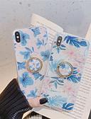 זול מגנים לאייפון-מגן עבור Apple iPhone XS / iPhone XR / iPhone XS Max מחזיק טבעת / תבנית / זוהר ונוצץ כיסוי אחורי פרח רך TPU