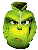 cheap Men's Hoodies & Sweatshirts-Men's Basic Hoodie - 3D Hooded Green US32 / UK32 / EU40