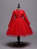 זול שמלות לילדות פרחים-נסיכה מעל הברך שמלה לנערת הפרחים  - כותנה / תחרה / סאטן שרוול ארוך צווארון גבוה עם כפתורים / תחרה / חגורה על ידי LAN TING Express