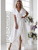 hesapli Maksi Elbiseler-Kadın's Seksi A Şekilli Elbise - Solid V Yaka Midi