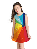 זול שמלות לבנות-שמלה מעל הברך שרוולים קצרים קשת מתוק / סגנון חמוד בנות ילדים / כותנה