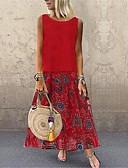 hesapli Print Dresses-Kadın's Sokak Şıklığı Zarif Pamuklu Kombinezon Elbise - Geometrik Ekose, Desen Midi