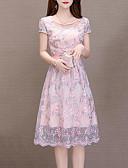 economico Abiti feste-Per donna Moda città sofisticato Swing Vestito - A pieghe Collage, A strisce Fantasia floreale Al ginocchio