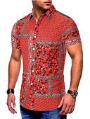 preiswerte Herren T-Shirts & Tank Tops-Herrn Einfarbig / Grafik / Tribal - Grundlegend EU- / US-Größe Baumwolle Hemd Druck Rote / Kurzarm
