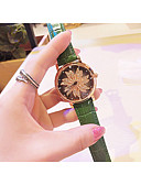 זול שעונים-בגדי ריקוד נשים שעון מכני קווארץ עור אמיתי עמיד במים אנלוגי אופנתי - אדום ירוק כחול / מתכת אל חלד