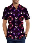 hesapli Erkek Gömlekleri-Erkek Gömlek 3D Temel Mor XXL