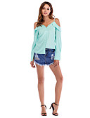cheap Men's Tees & Tank Tops-Women's Vacation Casual / Daily Street chic Loose Shirt - Solid Colored Strap / Off Shoulder Blushing Pink