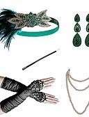povoljno Stare svjetske nošnje-Čarlston Vintage 1920s Gatsby Traka za kosu u stilu 20-ih Setovi dodataka za kostime Žene Kostim Zelen / Zeleni i crni / Zlatni + crna Vintage Cosplay Festival