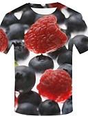 preiswerte Herren T-Shirts & Tank Tops-Herrn 3D / Grafik / Frucht - Street Schick / Übertrieben Übergrössen Baumwolle T-shirt, Rundhalsausschnitt Druck Schwarz / Kurzarm