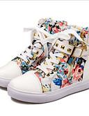 hesapli Tişört-Kadın's Spor Ayakkabısı Gizli Topuk Perçin Kanvas / PU İlkbahar & Kış Gökküşağı / Mavi / Pembe