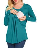 Недорогие Женские футболки-Жен. Беременная невеста - Футболка Хлопок Классический Однотонный Зеленый