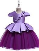 זול שמלות לבנות-שמלה עד הברך שרוולים קצרים קפלים / טלאים פרחוני / סרוג בסיסי / סגנון חמוד בנות ילדים / פעוטות / כותנה