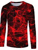 זול טישרטים לגופיות לגברים-3D / מופשט צווארון עגול בסיסי / סגנון רחוב טישרט - בגדי ריקוד גברים דפוס אודם / שרוול ארוך