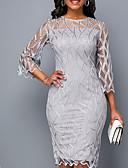 preiswerte Romantische Spitze-Damen Bodycon Hülle Kleid Solide Knielang