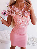 cheap Women's Dresses-Women's Bodycon Dress - Solid Colored Blushing Pink M L XL