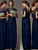 cheap Evening Dresses-A-Line Jewel Neck Floor Length Chiffon Formal Evening Dress with Lace Insert by JUDY&JULIA
