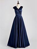 זול שמלות ערב-גזרת A צווארון V עד הריצפה סאטן שמלה לאם הכלה  עם אפליקציות על ידי LAN TING BRIDE®