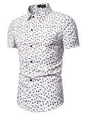hesapli Erkek Gömlekleri-Erkek Pamuklu Gömlek Desen, Geometrik / Kabile Vintage / Temel AB / ABD Beden Havuz / Kısa Kollu