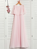 זול שמלות שושבינה-גזרת A עם תכשיטים מקסי שיפון שמלה לשושבינות הצעירות  עם קפלים על ידי LAN TING BRIDE®
