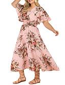 hesapli Büyük Beden Elbiseleri-Kadın's Büyük Bedenler A Şekilli Elbise V Yaka Midi