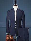 זול חולצות-טוקסידו גזרה רגילה מנדרינית Single Breasted Three-button פוליאסטר / תערובת כותנה / פוליסטר אחיד