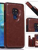 זול מגנים לטלפון-מגן עבור Huawei Huawei Mate 20 lite / Huawei Mate 20 pro / Huawei Mate 20 מחזיק כרטיסים כיסוי אחורי אחיד קשיח עור PU
