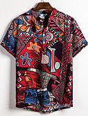hesapli Erkek Gömlekleri-Erkek Dik Yaka Gömlek Desen, Zıt Renkli / Grafik Sokak Şıklığı / Zarif AB / ABD Beden Gökküşağı / Kısa Kollu
