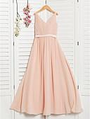 זול שמלות שושבינה-גזרת A צווארון V מקסי שיפון שמלה לשושבינות הצעירות  עם סרט / סלסולים על ידי LAN TING BRIDE®