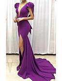 preiswerte Abendkleider-A-Linie Tiefer Ausschnitt Pinsel Schleppe Polyester Formeller Abend Kleid mit durch LAN TING Express