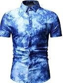 billige T-shirt-Herre - Geometrisk Skjorte Blå XL