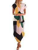 hesapli NYE Elbiseleri-Kadın's Temel Çan Elbise - Geometrik, Kırk Yama Asimetrik