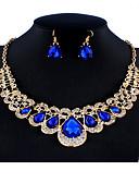 זול ביקיני ובגדי ים-בגדי ריקוד נשים כחול סטי תכשיטי כלה תגובת שרשרת כתר אגס וינטאג' אופנתי אבן נוצצת עגילים תכשיטים כחול עבור חתונה Party ארוסים מתנה פֶסטִיבָל 1set