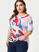 abordables Pijamas-Mujer Básico Tallas Grandes Estampado Camiseta Corte Ancho Retrato Blanco