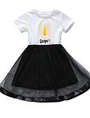 זול שמלות לבנות-שמלה עד הברך שרוולים קצרים רשת אותיות פעיל / סגנון חמוד בנות ילדים / פעוטות / כותנה