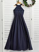 זול שמלות שושבינה-גזרת A עם תכשיטים מקסי שיפון שמלה לשושבינות הצעירות  עם פרטים מפנינה על ידי LAN TING BRIDE® / מסיבת החתונה