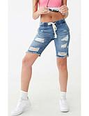 ราคาถูก กางเกงขาสั้น-สำหรับผู้หญิง พื้นฐาน กางเกงขาสั้น กางเกง - สีพื้น รู สีน้ำเงินกรมท่า M L XL