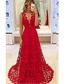 זול שמלות קוקטייל-גזרת A צלילה שובל סוויפ \ בראש שיפון / תחרה לגזור ערב רישמי שמלה עם על ידי LAN TING Express