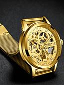 Недорогие Карманные часы-Муж. Роскошные часы Часы со скелетом Механические часы С автоподзаводом Формальный Стильные Нержавеющая сталь Черный / Золотистый 30 m С гравировкой Крупный циферблат Аналоговый Роскошь Мода -