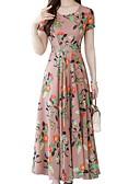 hesapli Print Dresses-Kadın's Temel Kılıf Elbise - Çiçekli Midi