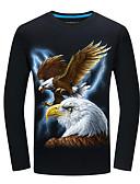 Недорогие Мужские футболки и майки-Муж. С принтом Футболка Уличный стиль 3D / Животное Белый US44 / UK44 / EU52
