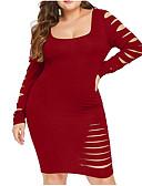 hesapli Büyük Beden Elbiseleri-Kadın's Boho Zarif A Şekilli Elbise - Solid, Desen Diz-boyu
