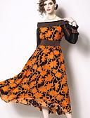 hesapli Maksi Elbiseler-Kadın's Temel Çin Stili A Şekilli Çan Elbise - Solid Zıt Renkli, Kırk Yama Desen Midi