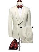 povoljno Odijela-Krema Jednobojni Standardni kroj Poliester Odijelo - Maramasti ovratnik Dvostruko grudi Dvije tipku