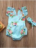 זול אוברולים טריים לתינוקות-חליפת גוף שרוול קצר פרחוני / גיאומטרי / דפוס בנות תִינוֹק 2pcs