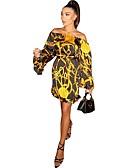 hesapli Print Dresses-Kadın's Bandaj Elbise - Soyut Diz üstü