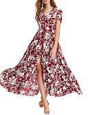 hesapli Mini Elbiseler-Kadın's Temel Çan Elbise - Çiçekli Maksi