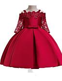 זול שמלות לילדות פרחים-נסיכה באורך הקרסול שמלה לנערת הפרחים  - תחרה / תערובת כותנה\פוליאסטר שרוול ארוך רצועות ספגטי עם אפליקציות / תחרה / חגורה על ידי LAN TING Express